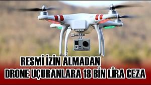 RESMİ İZİN ALMADAN DRONE UÇURANLARA 18 BİN LİRA CEZA