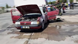 Aksaray'da otomobil yangını, Biranda alev aldı...