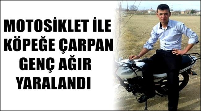 ESKİL'DE MOTOSİKLET İLE KÖPEĞE ÇARPAN GENÇ AĞIR YARALANDI